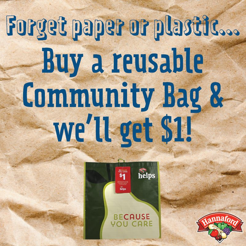 Buy a reusable community bag and we'll get $1